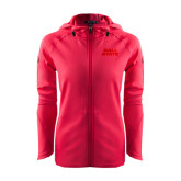 Ladies Tech Fleece Full Zip Hot Pink Hooded Jacket-Ball State Stacked