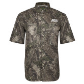 Camo Short Sleeve Performance Fishing Shirt-Ball State Wordmark Vertical