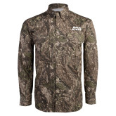 Camo Long Sleeve Performance Fishing Shirt-Ball State Wordmark Vertical
