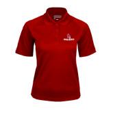 Ladies Cardinal Textured Saddle Shoulder Polo-Ball State Cardinals w/ Cardinal