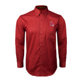 Cardinal Twill Button Down Long Sleeve-Cardinal