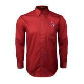Cardinal Twill Button Down Long Sleeve-Cardinal