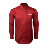 Cardinal Twill Button Down Long Sleeve-Ball State Cardinals w/ Cardinal