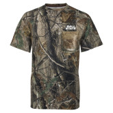 Realtree Camo T Shirt w/Pocket-Ball State Wordmark Vertical