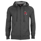 Charcoal Fleece Full Zip Hoodie-Cardinal