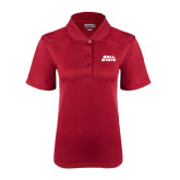 Ladies Cardinal Dry Mesh Polo-Ball State Stacked