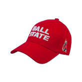 Red Heavyweight Twill Pro Style Hat-Ball State Stacked