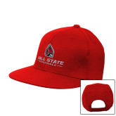 Red Flat Bill Snapback Hat-Cardinal Head Ball State Cardinals