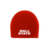 Red Knit Beanie-Ball State Stacked