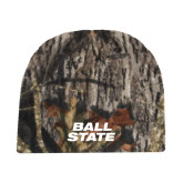 Mossy Oak Camo Fleece Beanie-Ball State Stacked