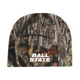 Mossy Oak Camo Fleece Beanie-Ball State Stacked