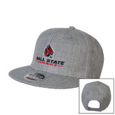 Heather Grey Wool Blend Flat Bill Snapback Hat-Cardinal Head Ball State Cardinals