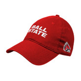 Red Twill Unstructured Low Profile Hat-Ball State Wordmark Vertical