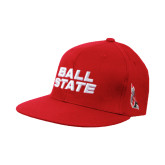Red Flexfit Flat Bill Pro Style Hat-Ball State Stacked