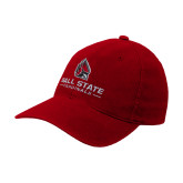 Red Flexfit Structured Low Profile Hat-Cardinal Head Ball State Cardinals