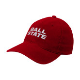 Red Flexfit Structured Low Profile Hat-Ball State Wordmark Vertical