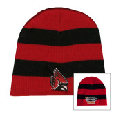 Red and Black Stripe Knit Beanie-