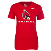 NIKE Red Ladies Cotton SS Tee-