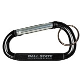 Black Carabiner with Split Ring-Ball State Cardinals Wordmark Engraved