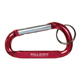Red Carabiner with Split Ring-Ball State Cardinals Wordmark Engraved