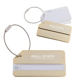 Gold Luggage Tag-Ball State Cardinals Wordmark Engraved