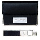 Business Card Case and Key Ring Set Black-Ball State Cardinals Engraved