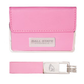 Business Card Case and Key Ring Set Pink-Ball State Cardinals Engraved