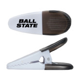 White Crocodile Clip/Magnet-Ball State Stacked