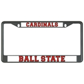 Metal License Plate Frame in Black-Cardinals