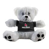 Plush Big Paw 8 1/2 inch White Bear w/Black Shirt-Ball State Cardinals w/ Cardinal