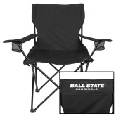 Deluxe Black Captains Chair-Cardinal Head Ball State Cardinals Vertical