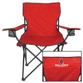 Deluxe Red Captains Chair-Cardinal Head Ball State Cardinals