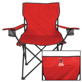 Deluxe Red Captains Chair-Cardinal Head Ball State Cardinals Vertical
