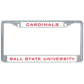 Metal License Plate Frame in Chrome-Flat Word-mark