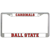 Metal License Plate Frame in Chrome-Cardinals
