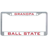Metal License Plate Frame in Chrome-Grandpa