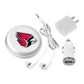 3 in 1 White Audio Travel Kit-Cardinal