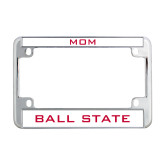 Metal Motorcycle License Plate Frame in Chrome-Flat Word-mark