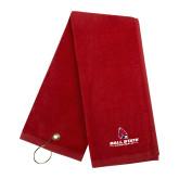 Red Golf Towel-Cardinal Head Ball State Cardinals