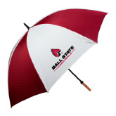 62 Inch Cardinal/White Umbrella-Ball State Cardinals w/ Cardinal