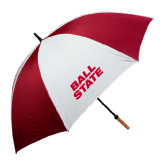 62 Inch Cardinal/White Umbrella-Ball State Stacked
