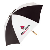 62 Inch Black/White Umbrella-Ball State Cardinals w/ Cardinal