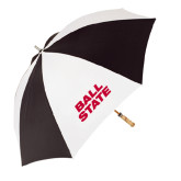 62 Inch Black/White Umbrella-Ball State Stacked