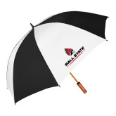 64 Inch Black/Whit Umbrella-Cardinal Head Ball State Cardinals