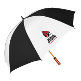 64 Inch Black/Whit Umbrella-Cardinal Head Ball State Cardinals Vertical
