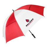 62 Inch Red/White Vented Umbrella-Cardinal Head Ball State Cardinals