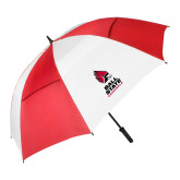 62 Inch Red/White Vented Umbrella-Cardinal Head Ball State Cardinals Vertical