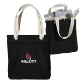 Allie Black Canvas Tote-Cardinal Head Ball State Cardinals