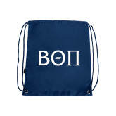 Navy Drawstring Backpack-Beta Theta Pi Greek Letters