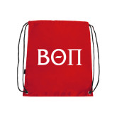 Red Drawstring Backpack-Beta Theta Pi Greek Letters